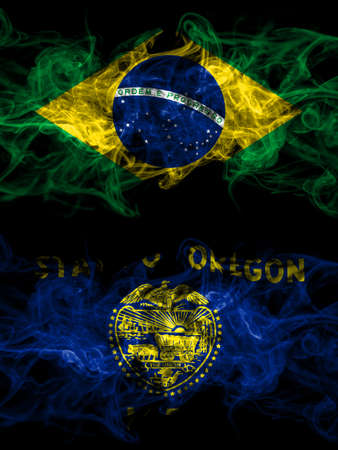 Brazil, Brazilian vs United States of America, America, US, USA, American, Oregon smoky mystic flags placed side by side. Thick colored silky abstract smoke flags.