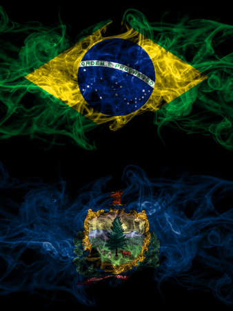 Brazil, Brazilian vs United States of America, America, US, USA, American, Vermont smoky mystic flags placed side by side. Thick colored silky abstract smoke flags. 免版税图像