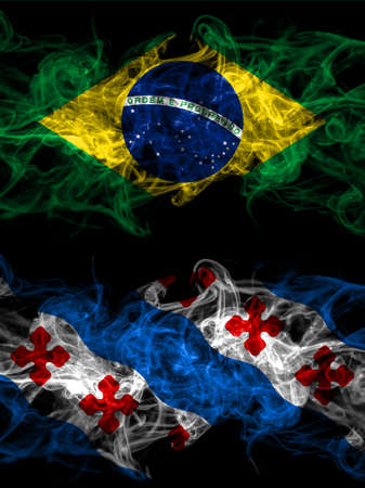 Brazil, Brazilian vs United States of America, America, US, USA, American, Rockville, Maryland smoky mystic flags placed side by side. Thick colored silky abstract smoke flags. 免版税图像