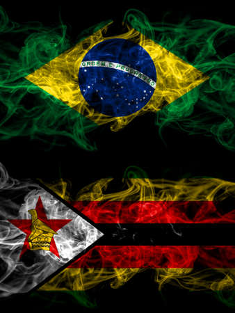 Brazil, Brazilian vs Zimbabwe, Zimbabwean, Zimbo smoky mystic flags placed side by side. Thick colored silky abstract smoke flags.
