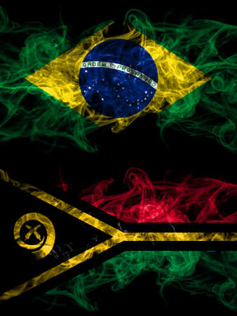 Brazil, Brazilian vs Vanuatu smoky mystic flags placed side by side. Thick colored silky abstract smoke flags. 免版税图像