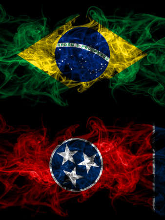Brazil, Brazilian vs United States of America, America, US, USA, American, Tennessee smoky mystic flags placed side by side. Thick colored silky abstract smoke flags.