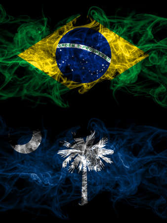 Brazil, Brazilian vs United States of America, America, US, USA, American, South Carolina smoky mystic flags placed side by side. Thick colored silky abstract smoke flags.