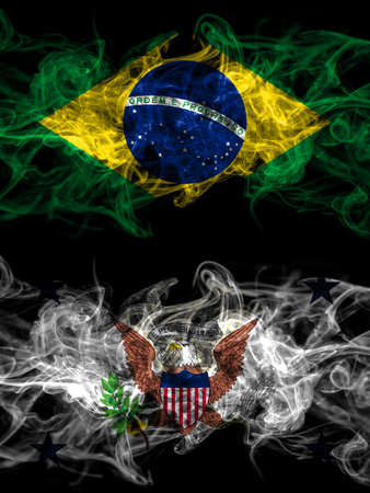 Brazil, Brazilian vs United States of America, America, US, USA, American, Vice President smoky mystic flags placed side by side. Thick colored silky abstract smoke flags.