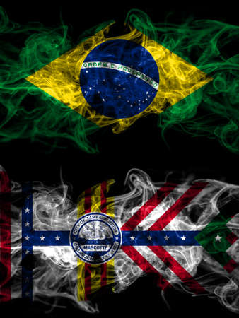 Brazil, Brazilian vs United States of America, America, US, USA, American, Tampa, Florida smoky mystic flags placed side by side. Thick colored silky abstract smoke flags.