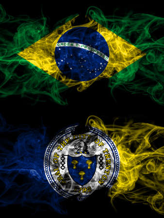 Brazil, Brazilian vs United States of America, America, US, USA, American, Trenton, New Jersey smoky mystic flags placed side by side. Thick colored silky abstract smoke flags. 免版税图像