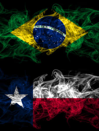 Brazil, Brazilian vs United States of America, America, US, USA, American, Texas smoky mystic flags placed side by side. Thick colored silky abstract smoke flags.