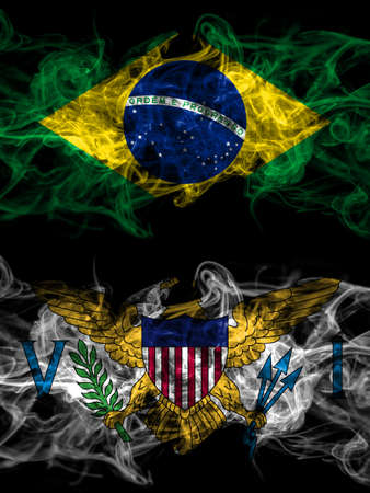 Brazil, Brazilian vs United States of America, America, US, USA, American, Virgin Islands smoky mystic flags placed side by side. Thick colored silky abstract smoke flags.