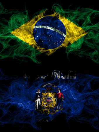 Brazil, Brazilian vs United States of America, America, US, USA, American, Wisconsin smoky mystic flags placed side by side. Thick colored silky abstract smoke flags. 免版税图像