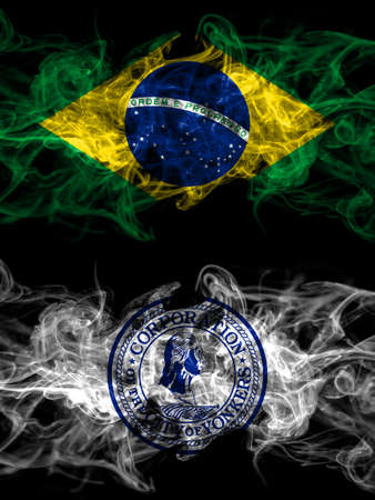 Brazil, Brazilian vs United States of America, America, US, USA, American, Yonkers, New York smoky mystic flags placed side by side. Thick colored silky abstract smoke flags.