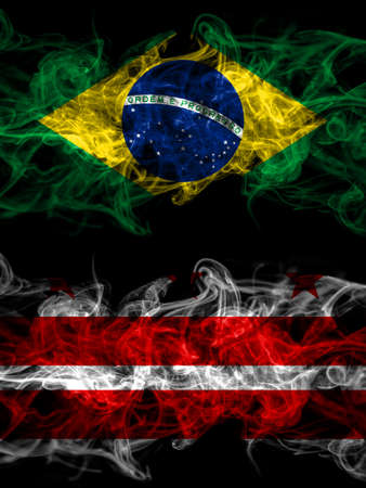 Brazil, Brazilian vs United States of America, America, US, USA, American, Washington D.C smoky mystic flags placed side by side. Thick colored silky abstract smoke flags. 免版税图像