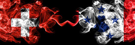 Switzerland, Swiss vs Austral Islands smoky mystic flags placed side by side. Thick colored silky abstract smoke flags.
