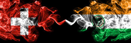 Switzerland, Swiss vs United States of America, America, US, USA, American, Miami, Florida smoky mystic flags placed side by side. Thick colored silky abstract smoke flags. Imagens