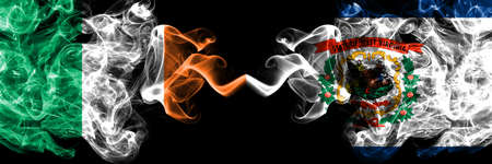 Republic of Ireland, Irish vs United States of America, America, US, USA, American, West Virginia smoky mystic flags placed side by side. Thick colored silky abstract smoke flags. Stock fotó