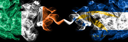 Republic of Ireland, Irish vs United States of America, America, US, USA, American, Johnston Atoll smoky mystic flags placed side by side. Thick colored silky abstract smoke flags.