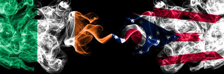 Republic of Ireland, Irish vs United States of America, America, US, USA, American, Ohio smoky mystic flags placed side by side. Thick colored silky abstract smoke flags.