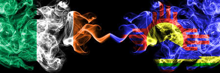 Republic of Ireland, Irish vs United States of America, America, US, USA, American, Roswell, New Mexico smoky mystic flags placed side by side. Thick colored silky abstract smoke flags. Stock fotó