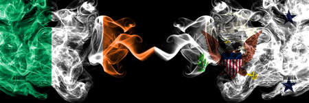 Republic of Ireland, Irish vs United States of America, America, US, USA, American, Vice President smoky mystic flags placed side by side. Thick colored silky abstract smoke flags. Stock fotó