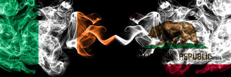 Republic of Ireland, Irish vs United States of America, America, US, USA, American, California, Californian smoky mystic flags placed side by side. Thick colored silky abstract smoke flags.