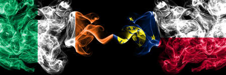 Republic of Ireland, Irish vs United States of America, America, US, USA, American, Wake Island smoky mystic flags placed side by side. Thick colored silky abstract smoke flags.