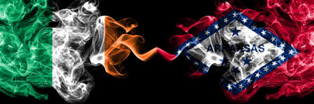 Republic of Ireland, Irish vs United States of America, America, US, USA, American, Arkansas, Arkansan smoky mystic flags placed side by side. Thick colored silky abstract smoke flags.