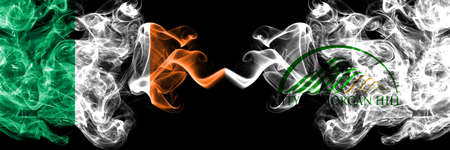 Republic of Ireland, Irish vs United States of America, America, US, USA, American, Morgan Hill, California smoky mystic flags placed side by side. Thick colored silky abstract smoke flags.