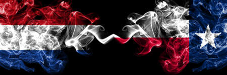 Netherlands vs United States of America, America, US, USA, American, Texas smoky mystic flags placed side by side. Thick colored silky abstract smoke flags. Stock Photo