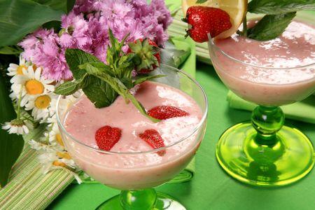 A strawberry dessert Stock Photo