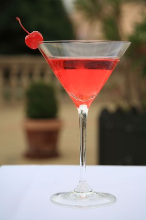 A coctail in a martini glass