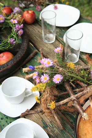 Table decoration in the nature