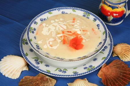 Cream soup with seafood