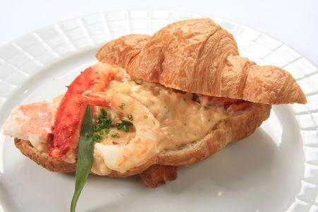 Croissant with cream of shrimp