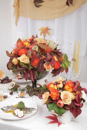 Autumn decoration on the table 2 Stock Photo
