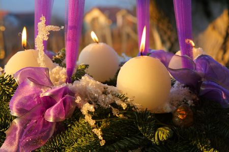 Advent wreath at dusk photo