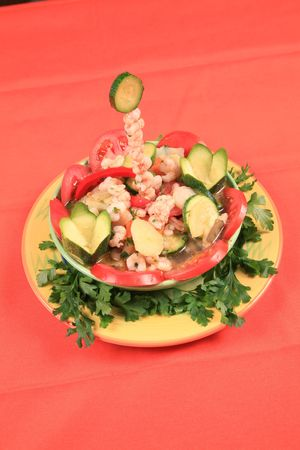 Shrimps with vegetables 3 photo