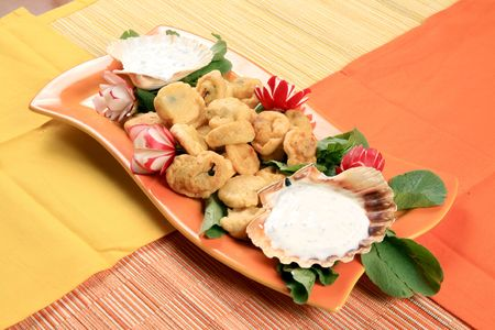 Fried mussels with vegetables 2 photo