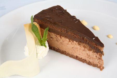 Decorated chocolate cake Stock Photo