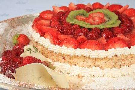 Sponge cake with strawberries 2 Stock Photo