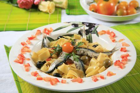 Pasta with sardine 2 Stock Photo