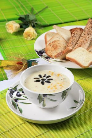 Cream soup with corn and olives 3