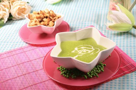Creamy spinach soup 4 Stock Photo