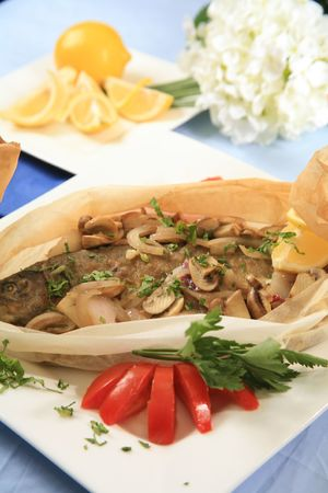 Baked fish and mushrooms