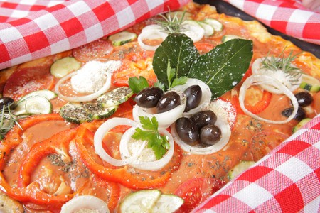 Pizza with a variety of vegetables  Stock Photo