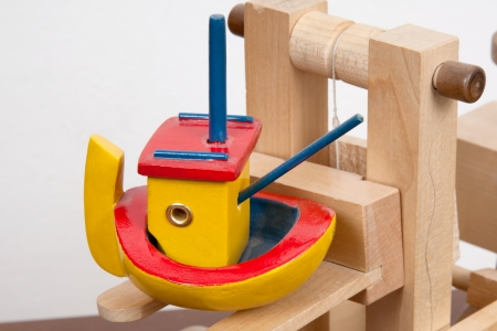 Wooden forklift toy Stock Photo