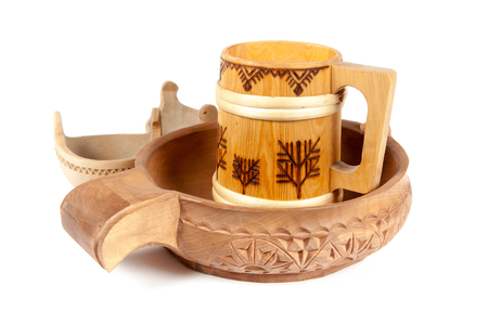 Wooden vessels for the kitchen Stock Photo