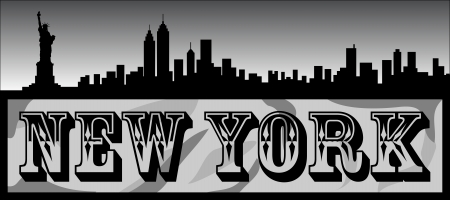 New York City Silhouette Background Illusztráció