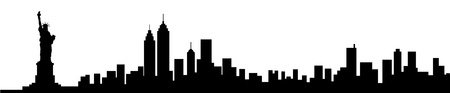 close up face: New York City Skyline Silhouette