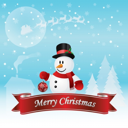 Snowman Christmas Card Vector Illustration Illusztráció
