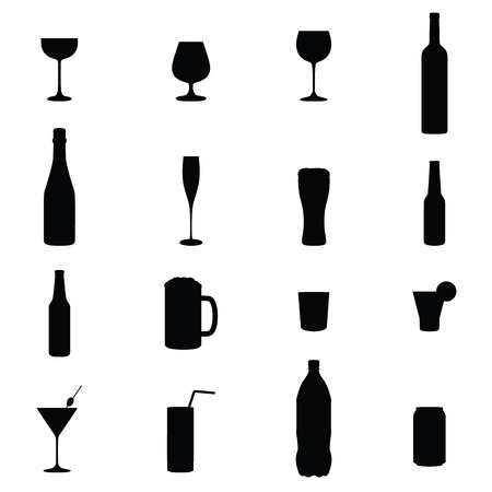 whisky bottle: Set Of Sixteen Drinks Black Silhouette Vector Illustrations