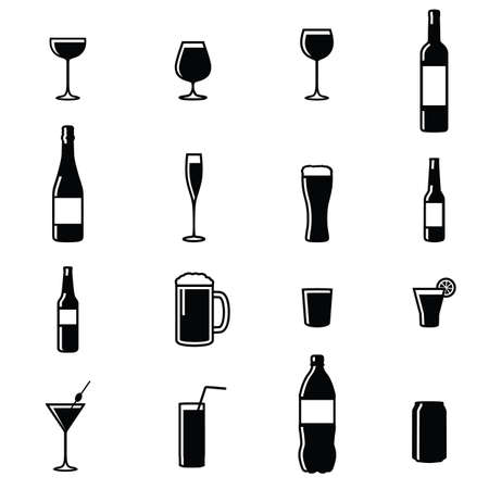 gaseosas: Conjunto de dieciséis Bebidas Negro Blanco Silueta ilustraciones vectoriales Vectores